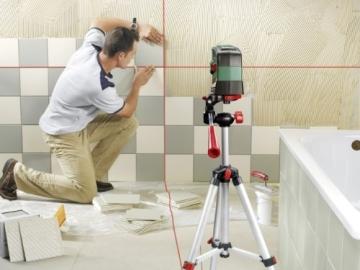 Bosch PCL 20 Set Kreuzlinien-Laser + Stativ + Schutztasche + Wandhalterung (10 m Arbeitsbereich, Lotfunktion) - 2