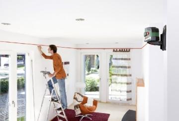 Bosch PCL 20 Set Kreuzlinien-Laser + Stativ + Schutztasche + Wandhalterung (10 m Arbeitsbereich, Lotfunktion) - 3